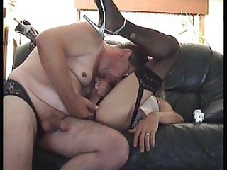 Amateur shemale in stockings fucked