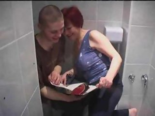 Mature redhead nailed in her bathroom