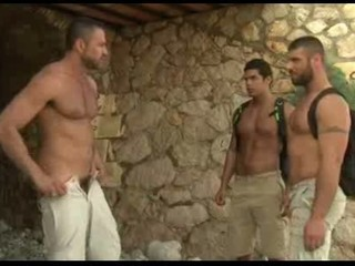 Sexy gays in threesome fuck