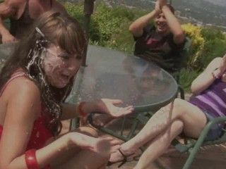 Amazing Brunette Cumshot Groupsex Outdoor
