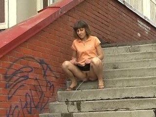 Impressive brunette shares her pussy with street