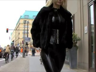 Latex Catsuit close by the Street