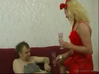 Blonde Daughter fuck Old Man after getting drunk by Alcohol