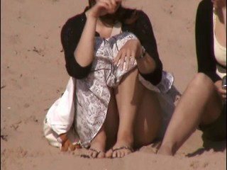 sitting on shore upskirt