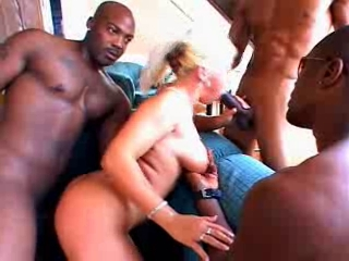 Smokin HOT blond gets BBC Gang Creampie