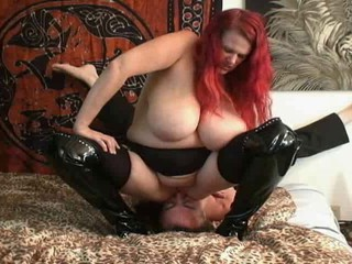 BBW Big Tits Facesitting Femdom Latex Licking Redhead