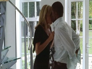 Beauteous white woman with black lover - Softcore Interracial