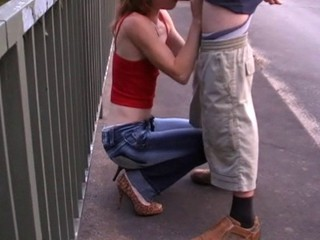 Skinny redhead blow and fuck on the bridge