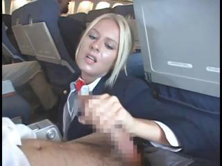 Blonde Stewardess Is Happy To Nibble On Her Passengers Hard Dick