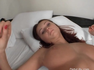 Dirty Redhead With Astonishing Melons Gives Cook Jerking On Bed