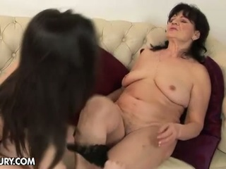 Nasty Lesbian Granny For Hot Brunette With Strapon