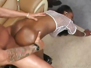 Hammering Huge Ass Black Girl With White Cock