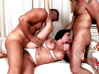 Busty Hottie Gianna Michaels Skewered Between Two Cocks