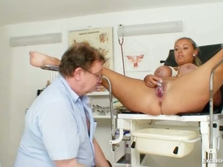 Busty Plump Donna Gets Tits In Bondage During Gyno Exam