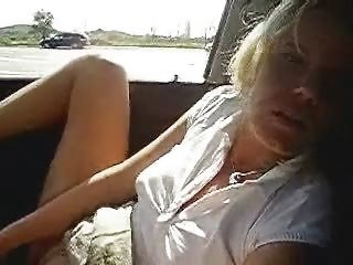 Horny Wife Masturbating In Car