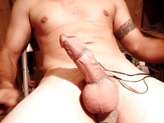E Stim Orgasm With Large Load Of Cum