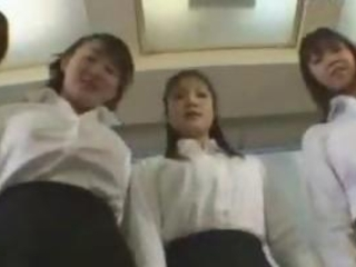 5 Girls In White Shirt Black Skirt Giving Handjob Fo...