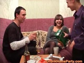 Party girl gets drunk and then gets fucked hard