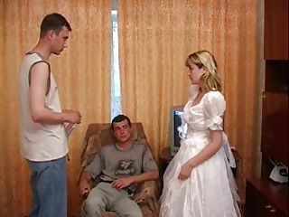 Blonde Bride Threesome