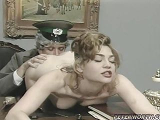Classic babe Vanessa Chase enjoys a warm lick on her twat from behind