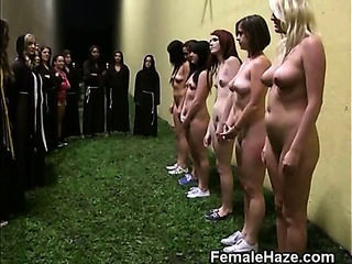 College Girls Lined Roughly Agains...