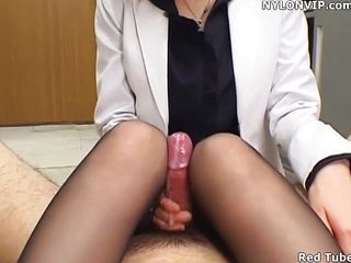 Cumshot Handjob Office Pantyhose