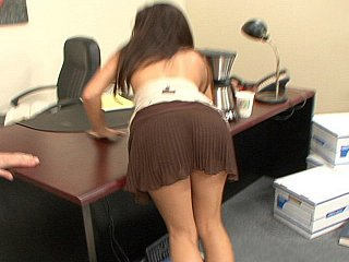 Sexy brunette office girl...