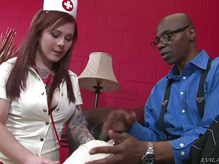 Sexy Red-haired Nurse Misti Dawn Gives Pleasure To Black Man With Big...