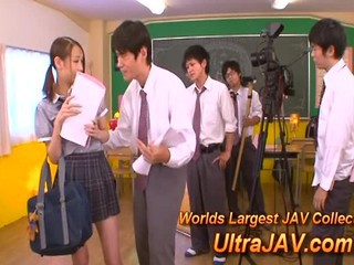 Japanese Schoolgirl Gets An A In Gangbang