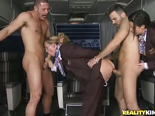 There Are Just Two Passengers And Two Hot Stewardesses For Them. Veron...