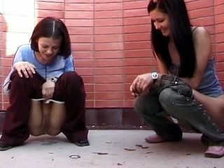 Cute Brunettes Pee Outdoor