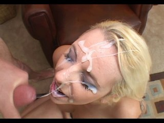 Slutty blonde gets a big facial and loves it (with replay)
