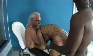 Doggystyle Fishnet Interracial Pornstar