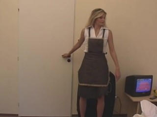 Amateur Blonde Cute German Maid Uniform