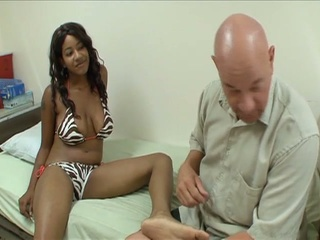 Horny Bald Dude Enjoys Black Fee...