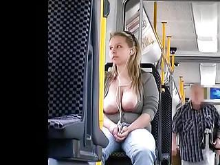 Busty Girl Has Tits Out On The Train