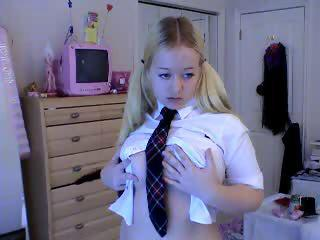 Naughty Blonde Schoolgirl Kirsten Does A Striptease On The Webcam