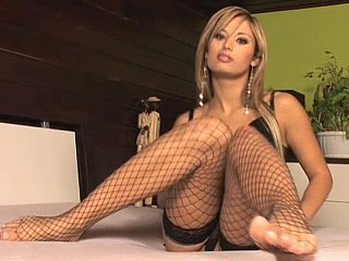 Amateur Blonde Fishnet Lingerie Long hair MILF
