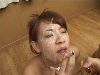japanese bukkake whore smokes...