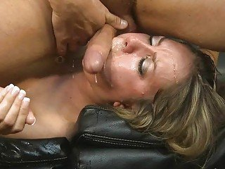 Busty blonde hoe gets her mouth filled with jizz