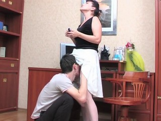 Amateur Brunette Licking Mature