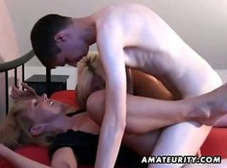 Amateur homemade threesome with 2 Milfs together with a young guy _: amateur blowjobs group