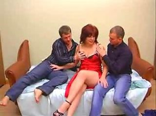 Slutty mature and two young men playing