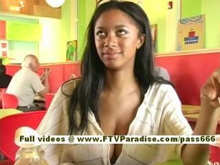 Farah, from ftv girls, superb brunette chick eating and flashing tits