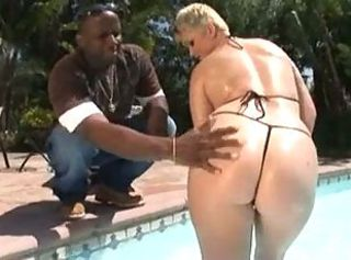Ass BBW Bikini Interracial Outdoor Pool