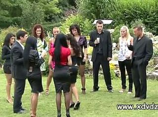 Hot European Models Reward Their Agents At A Nice Outdoors Party
