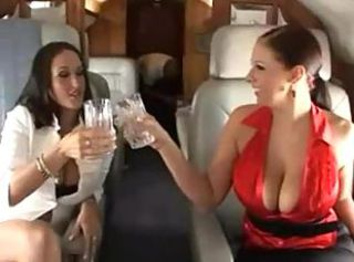 Babes on a private jet fuck the male flight attendant