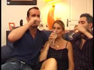 After glass of champagne sultry become man takes economize on and his friend coc...