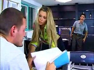 Hungarian cutie enjoys DP in the office