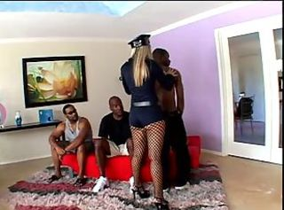 Police woman in gang bang action